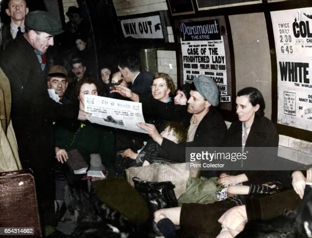 Paper seller down in the underground London c1940 Artist Unknown