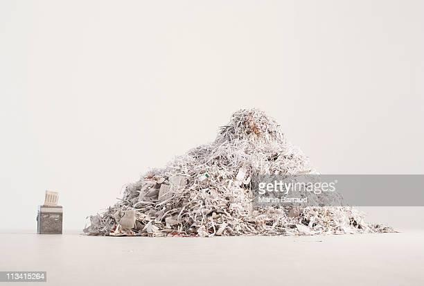 Paper shredder and pile of shredded paper
