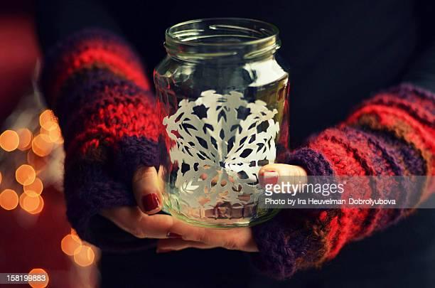 Paper snowflake in glass jar