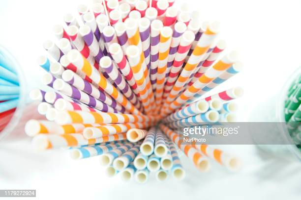 Paper straws are seen on display at the China Brand Show in Warsaw, Poland on September 19, 2019. The China Brand Show is a yearly exhibition that...