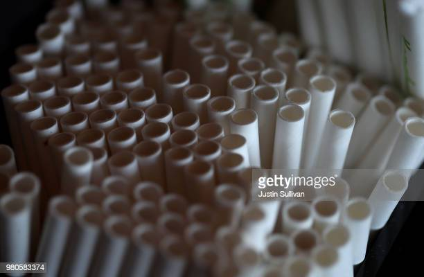 Paper straws sit on the bar at Fog Harbor Fish House on June 21 2018 in San Francisco California San Francisco Oakland and Berkeley are all...