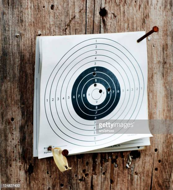 Paper target used for practice at shooting range