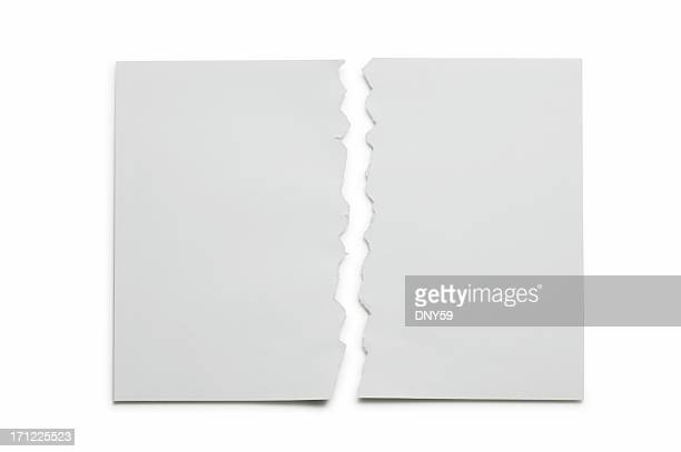 Paper Torn in Half on white background
