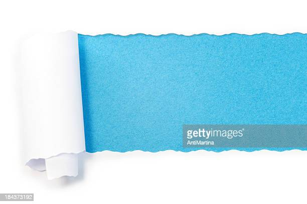 paper torn into roll revealing blue underneath - gift wrapping stock pictures, royalty-free photos & images