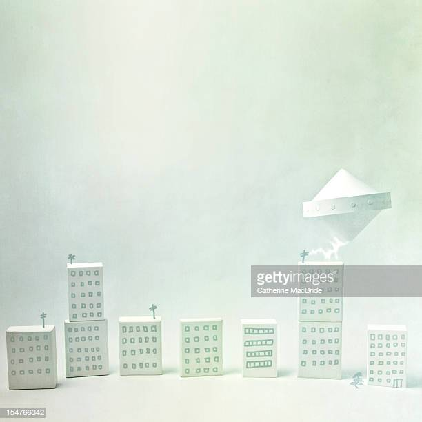 Paper UFO Flies over Paper City
