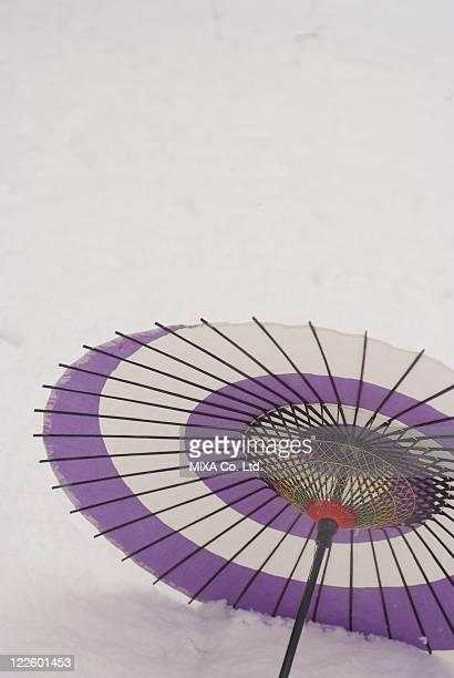 Paper umbrella on snowfield