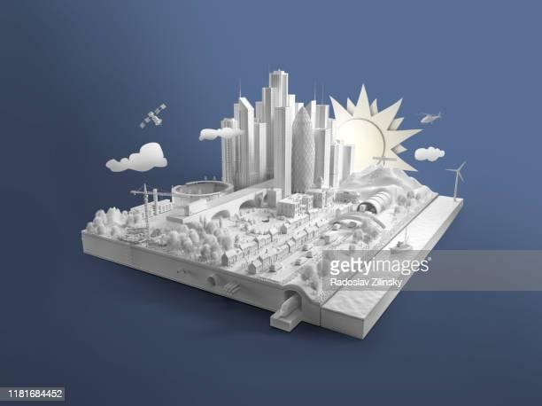 paper white city island on blue background - europa kontinent stock-fotos und bilder