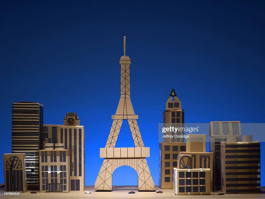 Papercraft Cityscape Paris : Bildbanksbilder