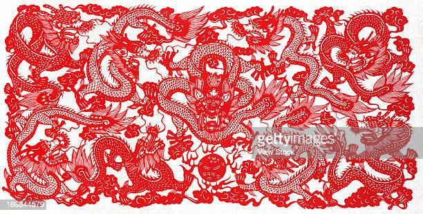 Paper-cutting of dragon