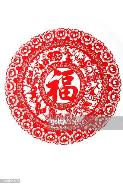 Paper-cutting of Fu character and Chinese zodiac signs