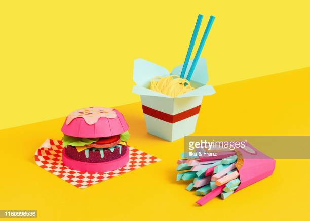 paper-made fast food - still life stock pictures, royalty-free photos & images