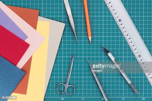 paperwork diy tabletop view - art and craft equipment stock pictures, royalty-free photos & images