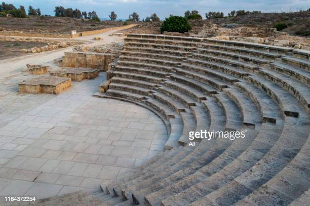 paphos ancient odeon in kato paphos, paphos, cyprus - パフォス考古学公園 ストックフォトと画像