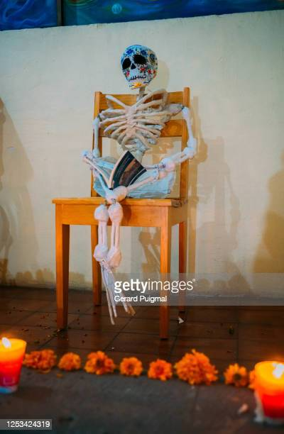 """papier mache day of the dead skull figure - """"gerard puigmal"""" stock pictures, royalty-free photos & images"""