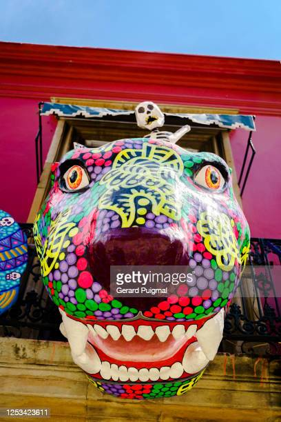 """papier mache figurines to celebrate the day of the dead in oaxaca (mexico) including a human skeleton and a alebrije - """"gerard puigmal"""" stock pictures, royalty-free photos & images"""