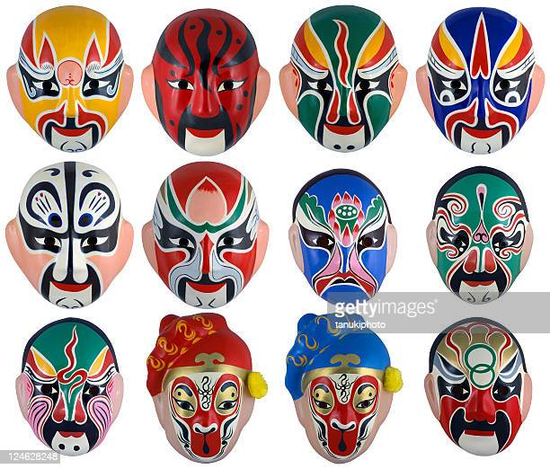 papier-mache peking opera masks - peking opera stock photos and pictures
