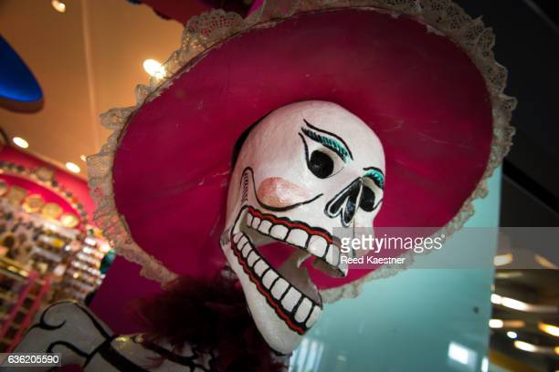 Papier-mâché skulls are used during the celebration of Dia de Muertos a holiday honoring the deceased in Mexico.