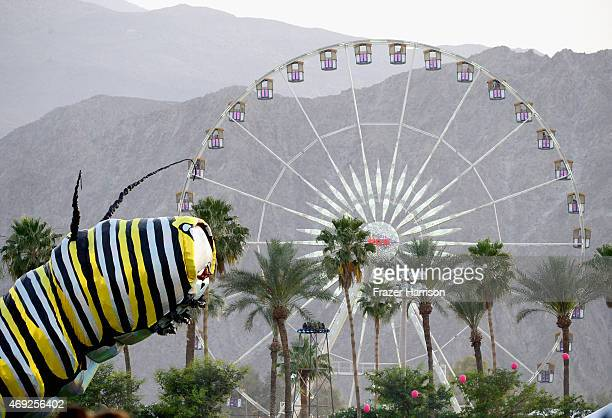 Papilio Merraculous art installation by Poetic Kinetics and the ferris wheel are seen during day 1 of the 2015 Coachella Valley Music Arts Festival...