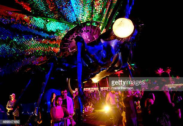 Papilio Merraculous art installation by Poetic Kinetics is seen during day 3 of the 2015 Coachella Valley Music & Arts Festival at the Empire Polo...
