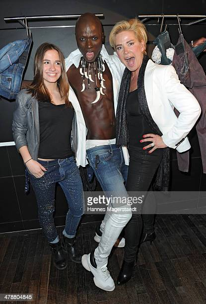Papis Loveday and Claudia Effenberg and daughter Lucia attend the Loveday Jeans Stylecocktail on March 14 2014 in Munich Germany