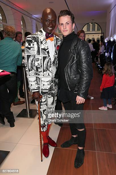 Papis Loveday and David Vicedomini, son of Lara Joy Koerner during the opening of the Jaguar Land Rover British Style Week In Munich on May 3, 2016...