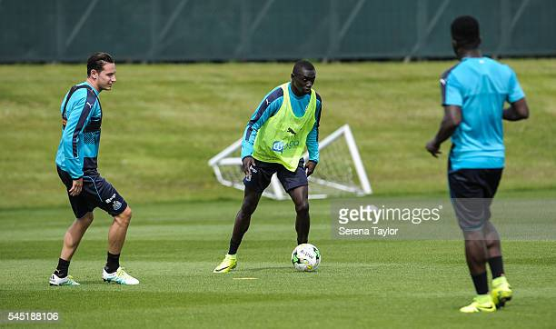 Papiss Cisse controls the ball during the Newcastle United Training session at The Newcastle United Training Centre on July 6 in Newcastle upon Tyne...
