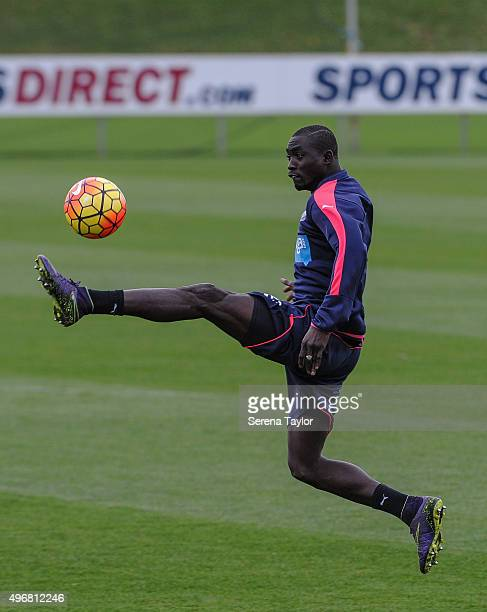 Papiss Cisse controls the ball mid air during the Newcastle United Training session at The Newcastle United Training Centre on November 12 in...