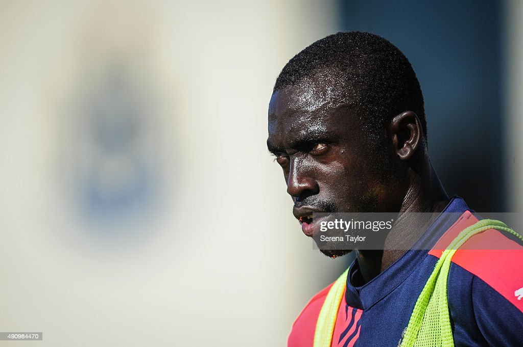 Papiss Cisse looks on during the Newcastle United Training session at The Newcastle United Training Centre on October 2, 2015, in Newcastle upon Tyne, England.