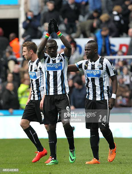 Papiss Cisse of Newcastle United celebrates after scoring a late winner during the Barclays Premier League match between Newcastle United and Crystal...