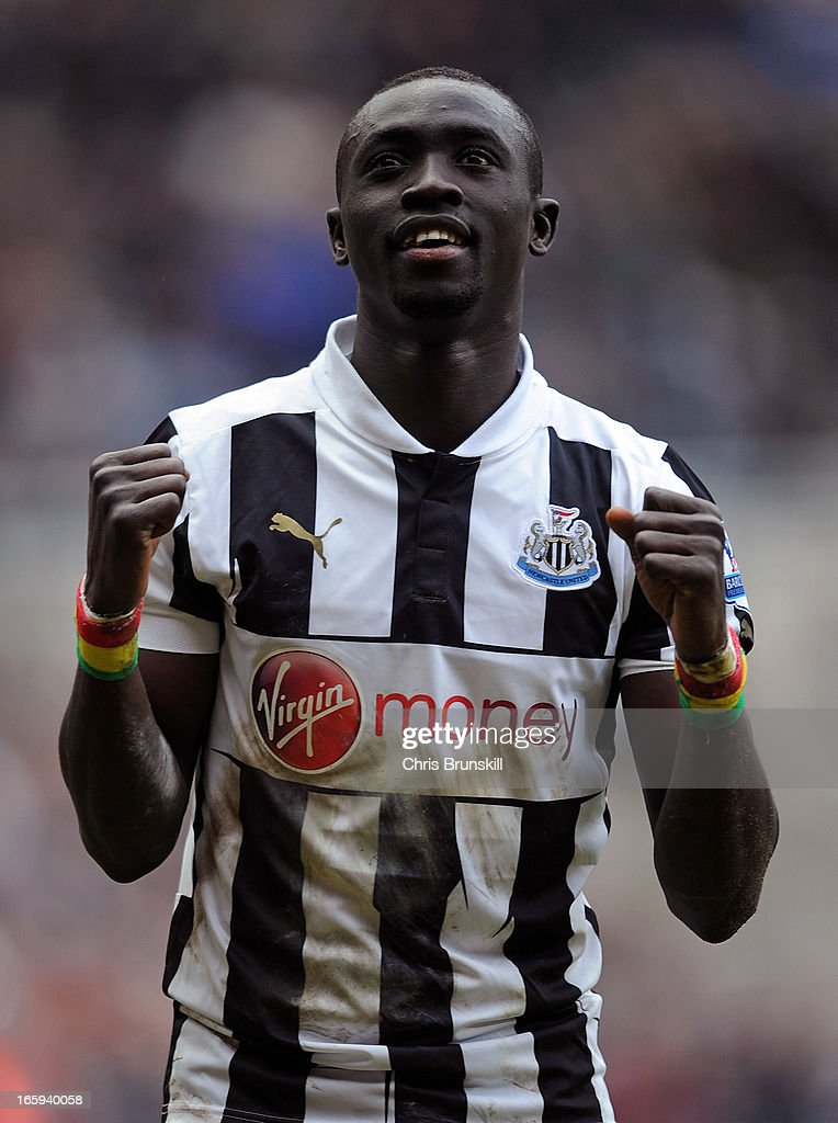 Papiss Cisse of Newcastle United celebrates following the Barclays Premier League match between Newcastle United and Fulham at St James' Park on April 7, 2013 in Newcastle upon Tyne, England.