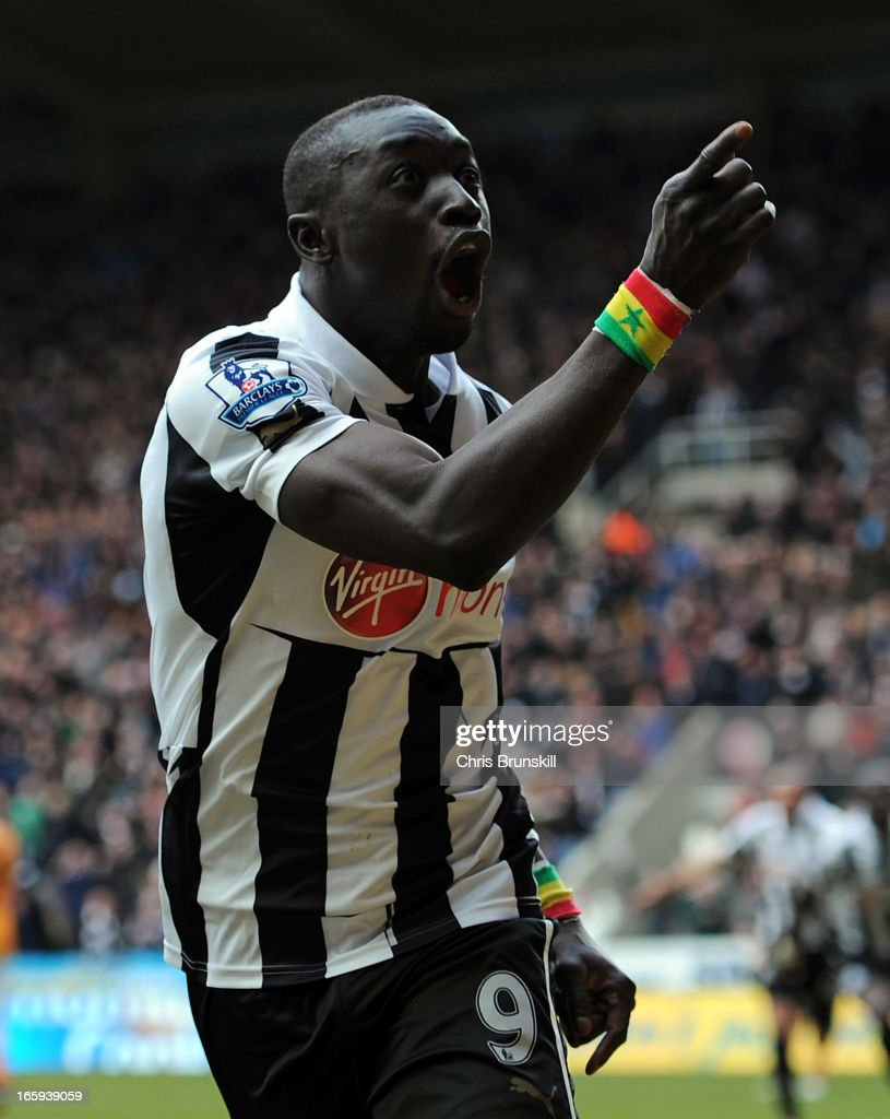 Papiss Cisse of Newcastle United celebrates scoring the opening goal during the Barclays Premier League match between Newcastle United and Fulham at St James' Park on April 7, 2013 in Newcastle upon Tyne, England.