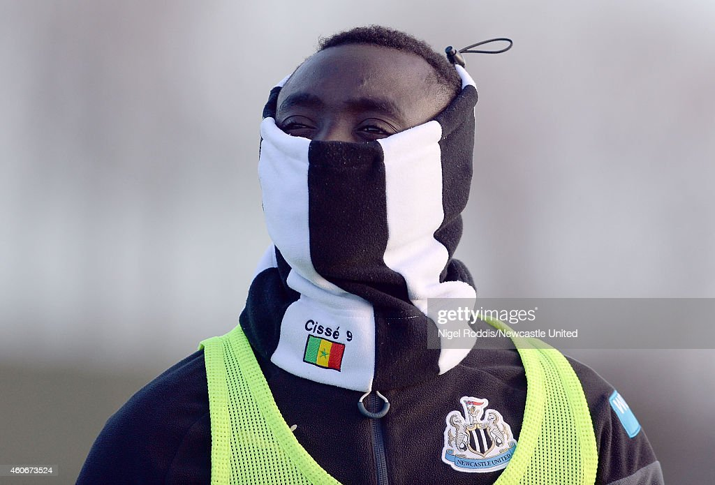 Papiss Cisse of Newcastle United during a training session at The Newcastle United Training Centre on December 19, 2014 in Newcastle upon Tyne, England.