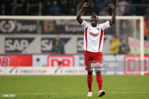 Papiss Demba Cisse of Freiburg celebrates his team's first goal during the Bundesliga match between 1899 Hoffenheim and SC Freiburg at the...