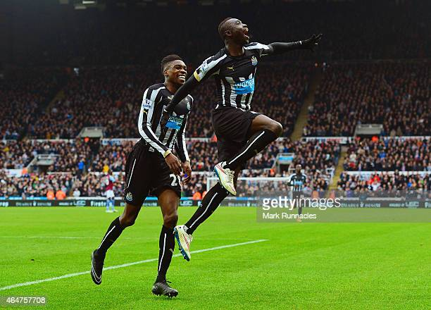Papiss Demba Cisse of Newcastle United celebrates scoring the opening goal with Sammy Ameobi of Newcastle United during the Barclays Premier League...