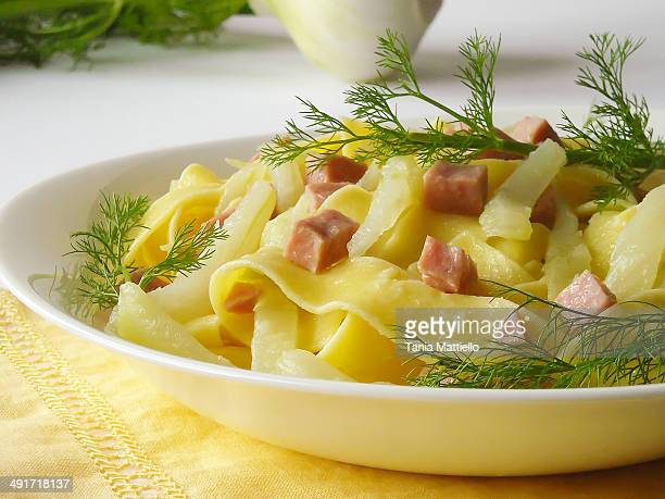 Pappardelle pasta with fennel and cooked ham