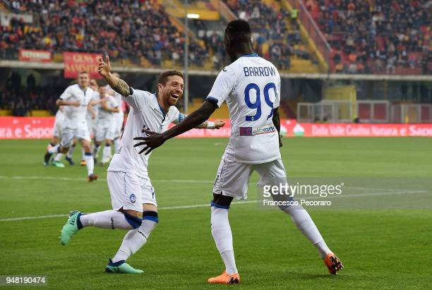 Papu Gomez and Musa Barrow of Atalanta BC celebrate the 02 goal scored by Musa Barrow during the serie A match between Benevento Calcio and Atalanta...
