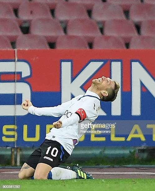 Papu Gomez of Atalanta BC celebrates after scoring the 02 goal during the TIM Cup match between SSC Napoli and Atalanta BC on January 2 2018 in...