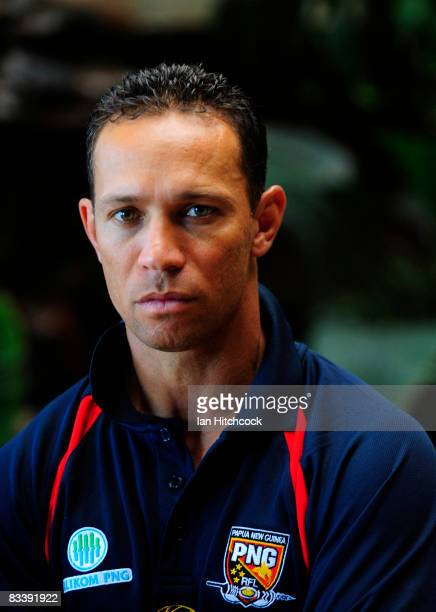 Papua New Guinea coach Adrian Lam poses after a press conference during a Townsville Civic Reception ahead of the 2008 Rugby League World Cup at the...