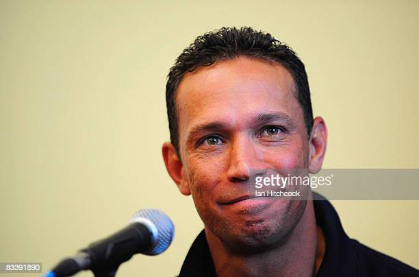 Papua New Guinea coach Adrian Lam speaks at a press conference during a Townsville Civic Reception ahead of the 2008 Rugby League World Cup at the...