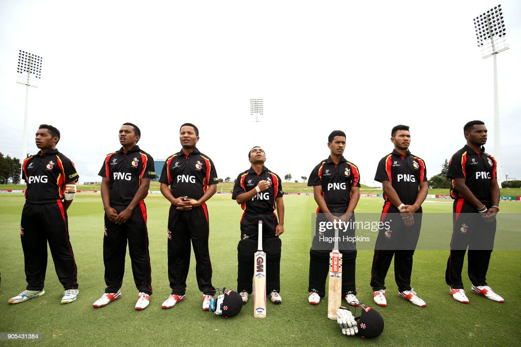 Papua New Guinea players line up for the national anthem during the ICC U19 Cricket World Cup match between India and Papua New Guinea at Bay Oval on January 16, 2018 in Tauranga, New Zealand.