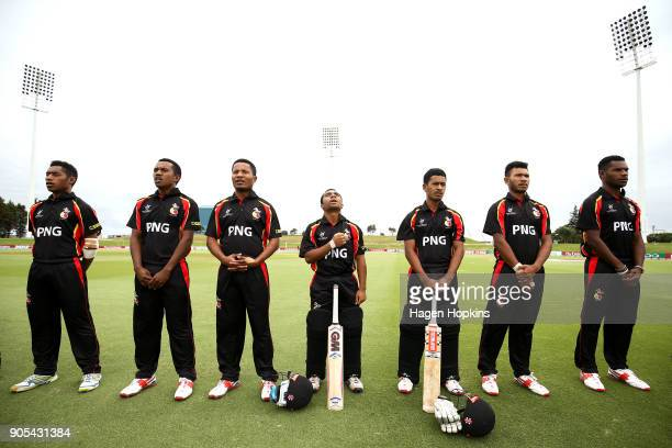 Papua New Guinea players line up for the national anthem during the ICC U19 Cricket World Cup match between India and Papua New Guinea at Bay Oval on...