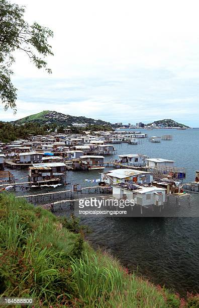 papua new guinea, port moresby, stilt houses. - port moresby stock pictures, royalty-free photos & images