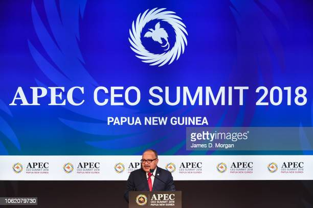 Papua New Guinea Prime Minister Peter O'Neill speaks at the start of the APEC CEO Summit held on PO Cruises' Pacific Explorer on November 16 2018 in...