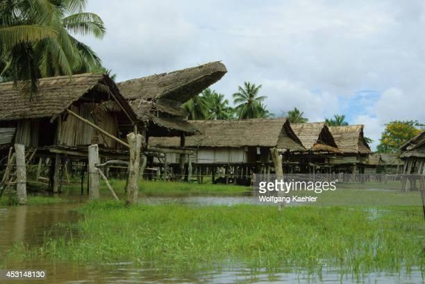 Papua New Guinea Sepik River Houses Built On Stilts For Protection During Flooding Season