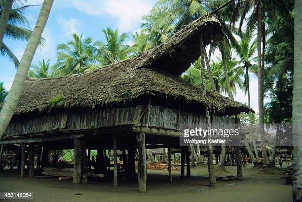 Papua New Guinea Sepik River Tambaran House In Village