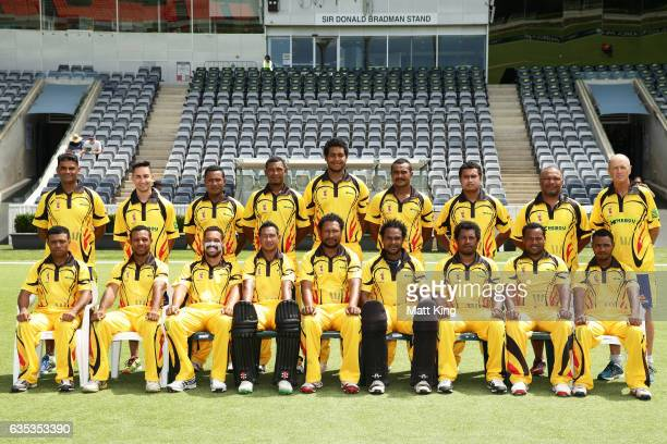 Papua New Guinea team poses prior to the T20 warm up match between ACT and Papua New Guinea at Manuka Oval on February 15 2017 in Canberra Australia