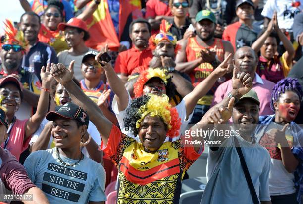 Papua New Guinean fans show their support during the 2017 Rugby League World Cup match between Papua New Guinea and the United States on November 12...