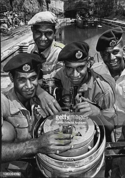 Papuan Army Sailors Visiting Sydney Ten Pacific islanders 9 from New Guinea and one from Papua and 3 are in Sydney as members of the crew of Army...