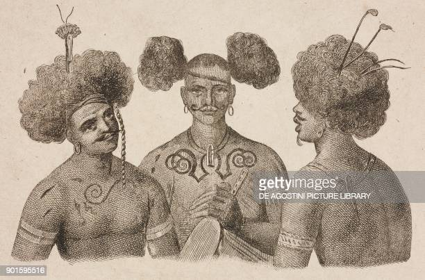 Papuan chiefs of HavreDory wearing traditional headdresses and costumes Papua New Guinea engraving by Domeny de Rienzi and Mariage from Oceanie ou...