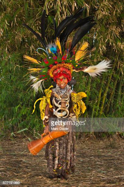 Papuan girl in traditional clothes at Goroka Show